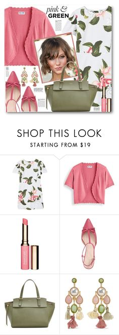 """""""Floral Dress & Shrug Sweater"""" by brendariley-1 ❤ liked on Polyvore featuring MANGO, Blair, Clarins, Victoria's Secret, Kate Spade, Furla, Ben-Amun, floral, dress and cardigan"""