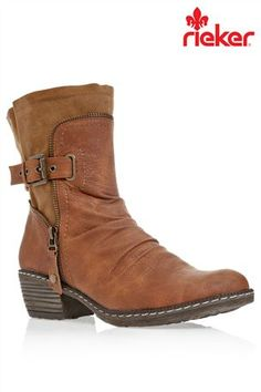 Rieker® Tan Buckle Zip Detail Mid Boots