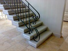 Wrought iron balustrades end scroll Iron Staircase, Iron Stair Railing, Balcony Railing, Railings, Staircases, Wood Stairs, Iron Work, Patio Ideas, Wrought Iron