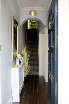 Hallway Refresh - Edwardian House (NTS: I like the radiator cover that looks like a table and the décor placed upon it. Victorian Terrace Hallway, Edwardian Hallway, Edwardian Haus, Small Entryways, Small Hallways, Front Door Entrance, House Entrance, Front Doors, Entrance Halls