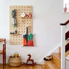 Peg-it-all Pegboard : Wall-mounted Storage Panel in birch plywood - pasillos Storage Furniture, Wooden Pegboard, Vertical Storage, Small Shelves, Storage Spaces, Birch Plywood, Sustainable Furniture, Storage, Wall Paneling