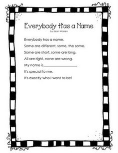 """Everybody Has a Name"" Poem/Song"