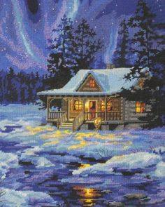 Needlepoint Kit Winter Sky Cabin From Dimensions Cross Stitch House, Cross Stitch Kits, Cross Stitch Charts, Cross Stitch Designs, Cross Stitch Patterns, Cross Stitching, Cross Stitch Embroidery, Tapestry Kits, Cross Stitch Landscape