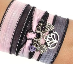 Namaste Silk Wrap Bracelet Yoga Jewelry by BohemianEarthDesigns, $30.95