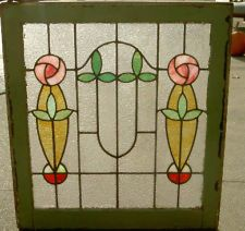 FINE ARTS & CRAFTS ANTIQUE STAINED GLASS WINDOW FROM A NEW YORK ESTATE. Has 2!