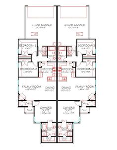 duplex house plan traditional front elevation 1228 sqft per side one story floor bedrooms 2 baths 2 car garage width depth