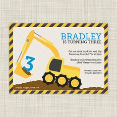 PRINTABLE Construction Birthday Party Invitations by jamberdesign, $18.00