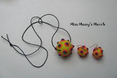 Neon Wilderness polymer clay ball necklace by MissMessysMerch, $15.00