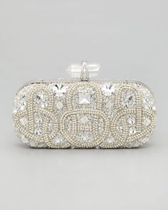 Marchesa Lily Medium Embroidered Stone Box Clutch, Clear - Neiman Marcus