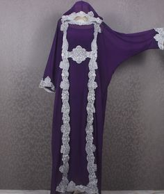 Silver Embroidery Kaftan Dress Purple Hooded Caftan Dress