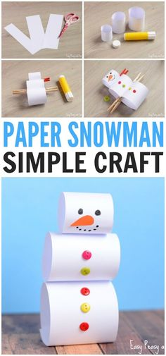 pupazzo di neve di carta - Make this Simple Paper Snowman Craft for Kids Christmas Activities, Craft Activities, Preschool Crafts, Kids Christmas, Winter Activities, Christmas Christmas, Snowman Crafts, Fall Crafts, Holiday Crafts