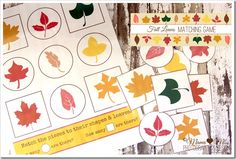 Fall Leaves Matching Game {mama♥miss} ©2012