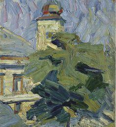 Lyonel Feininger (All.-Am., 1871-1956), Kirchturm hinter Bäumen, 1907. huile sur toile