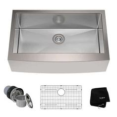 Buy the Kraus Stainless Steel Direct. Shop for the Kraus Stainless Steel Single Basin 16 Gauge Stainless Steel Kitchen Sink for Farmhouse Installations with Apron Front - Basin Rack and Basket Strainer Included and save. Stainless Steel Farmhouse Sink, Steel Kitchen Sink, Apron Sink Kitchen, Single Bowl Kitchen Sink, Farmhouse Sink Kitchen, Kitchen Sink Faucets, Stainless Steel Kitchen, Rustic Kitchen, French Kitchen