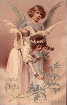 Two Angels Playing Music and Picking Holly