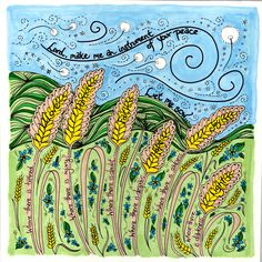 Prayer of St. Francis Print with wheat fields by DovetailInk