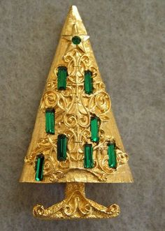 Vintage MYLU Cathedral Christmas Tree Brooch Pin Emerald Green Rhinestones