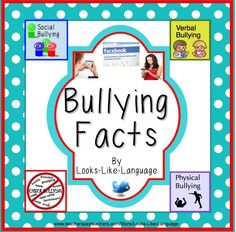 Facts about types of bullying on mini posters, worksheets and discussion cards for dealing with bullying. $