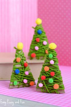 Make These Super-Simple Christmas Crafts With Your Kids This Season - 12 Easy Christmas Crafts For Kids to Make – Ideas for Christmas Decorations for Kids - Jewelry Christmas Tree, Christmas Tree Crafts, Cheap Christmas, Holiday Crafts, Christmas Ornaments, Holiday Decor, Christmas Presents, Christmas Clay, Whimsical Christmas