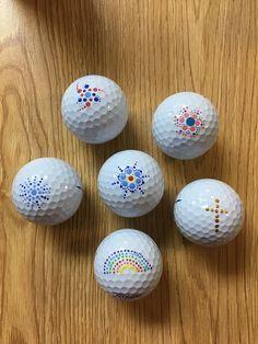 Golf balls I painted for my husband! #golfballs