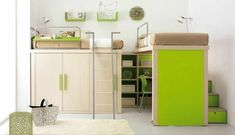 Hochbett Schreibtisch Ideen-grünes Zimmer