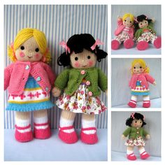 Pattern is written in ENGLISH. Other languages NOT available.  INSTANT DOWNLOAD - PDF download button is on your Purchases and reviews page (to find this click on You top right of page).  POLLY and KATE Polly and Kate dolls are made from the same basic pattern. Instructions are given for the knitted skirt and cardigan plus fabric skirt. Shoes are not removable SIZE: Each doll measures 33 cm (13 in)  NEEDLES: Knitted on two straight 3.25 mm needles (US 3).  YARN: DK (double knitting) yarn…
