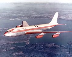 "On July 15, 1954, the Boeing 367-80 (known as the ""Dash 80"") made its first flight from Renton Field southeast of Seattle. The jet-powered prototype airliner will become the Boeing 707 and usher in the jet age for passenger travel."