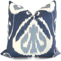 Embroidered Chartreuse Turquoise and Blue Ikat Pillow by PopOColor
