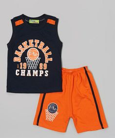 This Navy Basketball Tank & Orange Shorts - Infant, Toddler & Boys by Coney Island Kids is perfect! #zulilyfinds