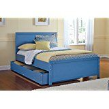 Bronelly Metro Modern Blue Full Size Bed With Trundle Under Bed Storage deals week