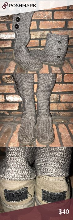 Authentic UGGs! Authentic grey sweater UGGs.  Used, reflected in price UGG Shoes Winter & Rain Boots