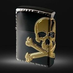 Zippo Lighter Side Skull Black Nickel x Gold Skull Reutor Etching From Japan New