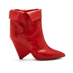 Isabel Marant Luliana leather ankle boots (3.495 RON) ❤ liked on Polyvore featuring shoes, boots, ankle booties, red, ankle boots, isabel marant booties, leather booties, red ankle boots and red leather booties