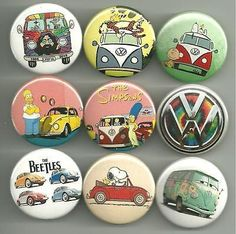 This set is for fans of the classic Volkswagen Bus, or Beetle. This set features Charlie Brown, Snoopy, the Grateful Dead, Calvin and Hobbes and The Simpsons,