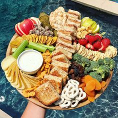 Summer Snack Board by The BakerMama Snack Platter, Party Food Platters, Food Trays, Snack Trays, Antipasto Platter, Charcuterie Platter, Pool Snacks, Summer Snacks, Summer Treats