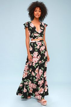 2dc55b1af995 Everyone is cheering for the Lulus Good Fleur You Black Floral Print Two