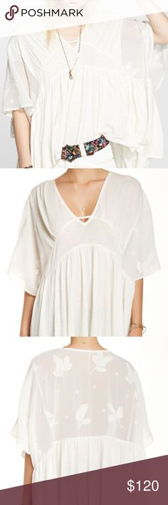 Free People NWT Sunny Caftan White Size Small Free People NWT white sunny caftan. Sheer detailed lace back. Oversized - could fit a medium. Super cute for the summer. Non smoking length : 27 inches waist: 30 inches across Free People Tops Blouses