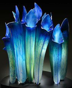 """Blue Pitcher Plants"" Art-Glass Sculptures by Jason Gamrath <3<3<3"