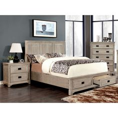 Furniture of America Bodric Traditional 2-Piece Weathered Bed with Nightstand Set