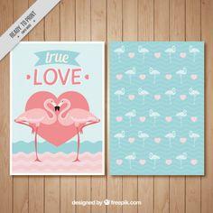 Tarjeta de amor con flaencos Vector Gratis