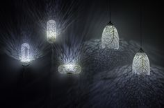 Hyphae Lamp by Nervous System Inspired by how veins form in leaves, each lamp is digitally grown in a computer simulation and fabricated with 3D printing. The process guarantees that every lamp is unique.