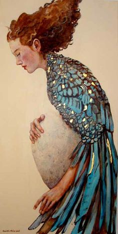 during walks when I was pregnant with little lady, every bird was a 'momma bird' to me. (no. i don't think people are evolved from birds. but i do like this image.)