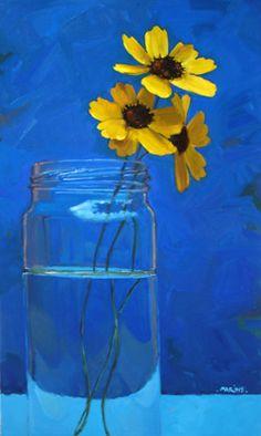 artist, Carol Marine.  i'm mesmerized by the blue vs yellow