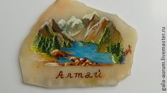 Магнит из камня с ручной росписью на заказ пейзажи Алтай - бежевый,магнит
