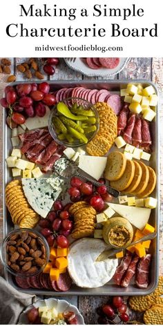 Making a Simple Cheese Board - How to Make a Simple Charcuterie Board You are in the right place about healthy recipes Here we off - Meat And Cheese Tray, Meat Trays, Food Trays, Wine Cheese, Cheese And Crackers, Simple Cheese Platter, Cheese And Cracker Tray, Meat Platter, Cheese Plates