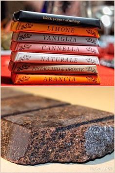 Traditional Modica chocolate- Sicily  Traditional recipe that gives a grainy texture and aromatic flavor ( carob, vanilla, plain, orange, cinnamon, lemon, pistachio)  The specialty, inspired by the Aztec original recipe for Xocoatl, was introduced in the County of Modica by the Spaniards, during their domination in the southern Italy