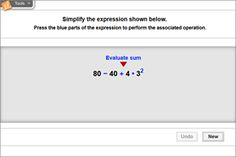Select and evaluate the operations in an expression following the correct order of operations.