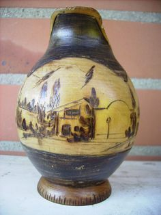 Small wooden pot pyrographed souvenir Basque Country pediment pelota | eBay