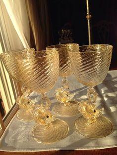 4 Vintage Murano Italy Venetian Art Glass Gold Flecked Dolphin Fish Wine Goblets