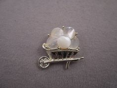 Gold Tone Wheelbarrow Pin with Mother Of Pearl Discs c1960s by thejeweledbear on Etsy